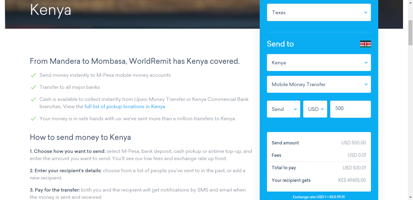 WorldRemit to Mpesa instantly