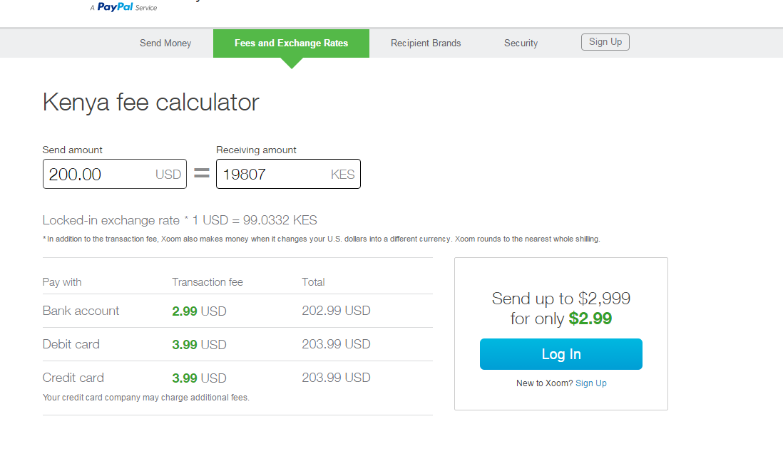 Xoom to Mpesa - fees and exchange rates